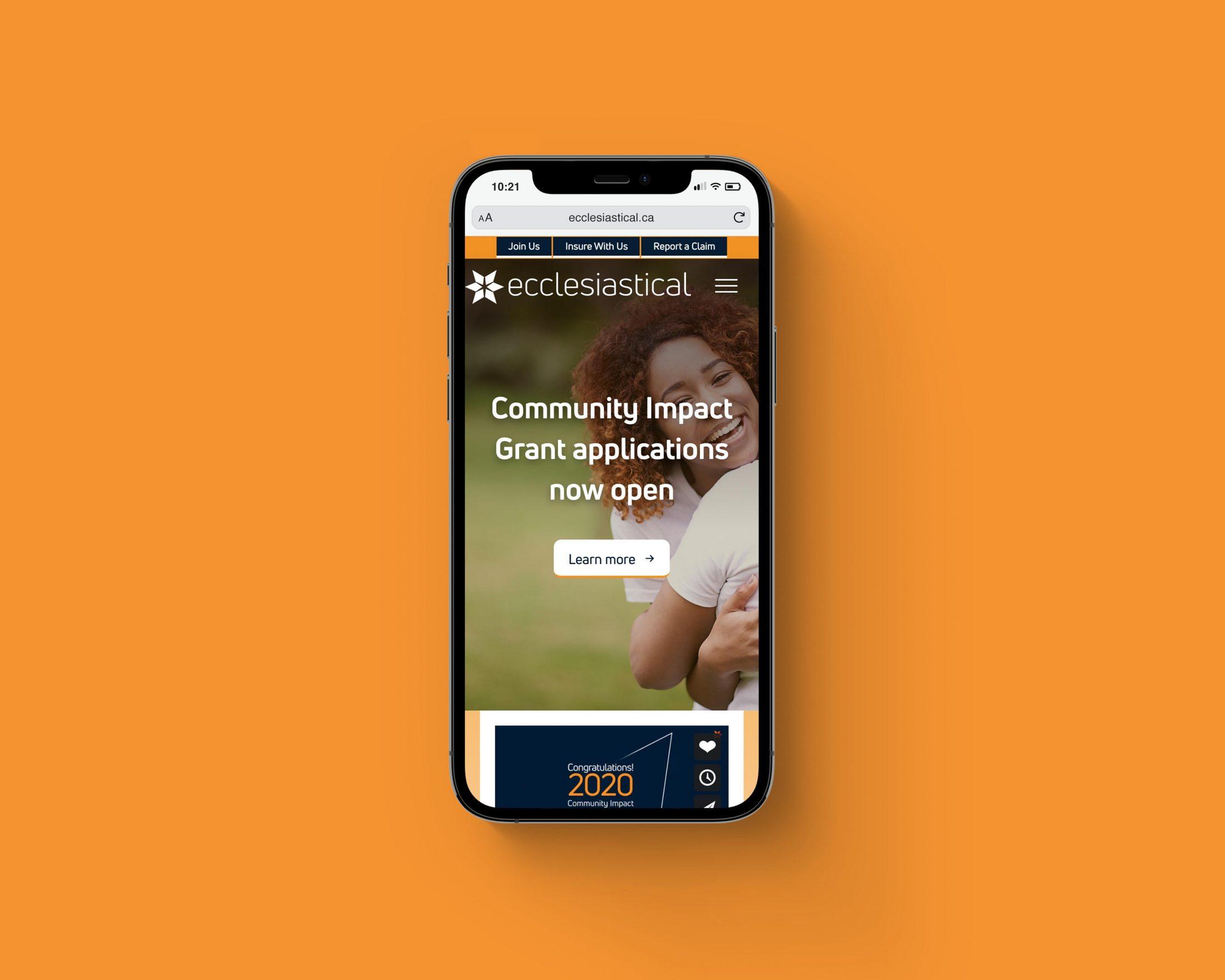 Ecclesiastical website mobile
