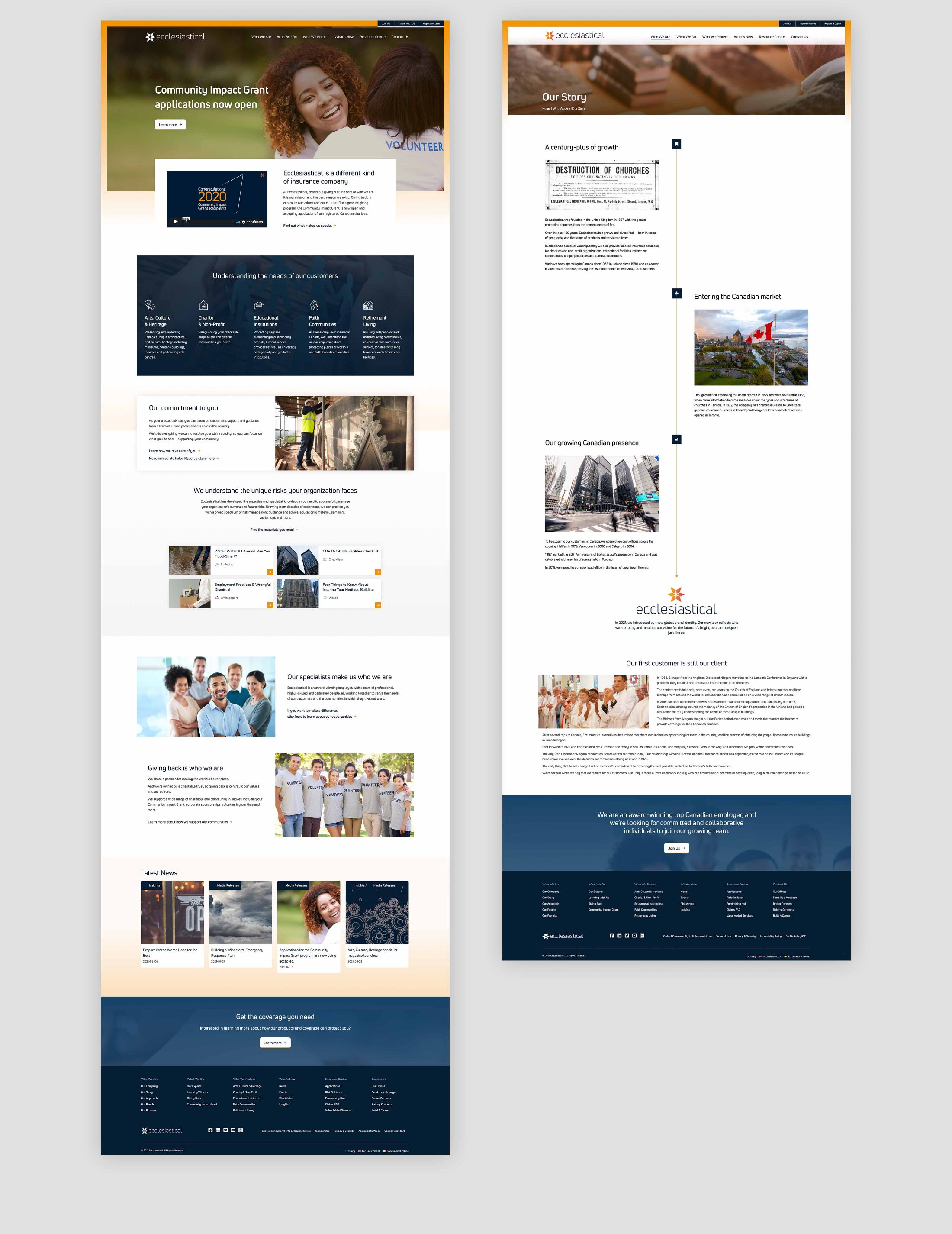 Ecclesiastical website full pages