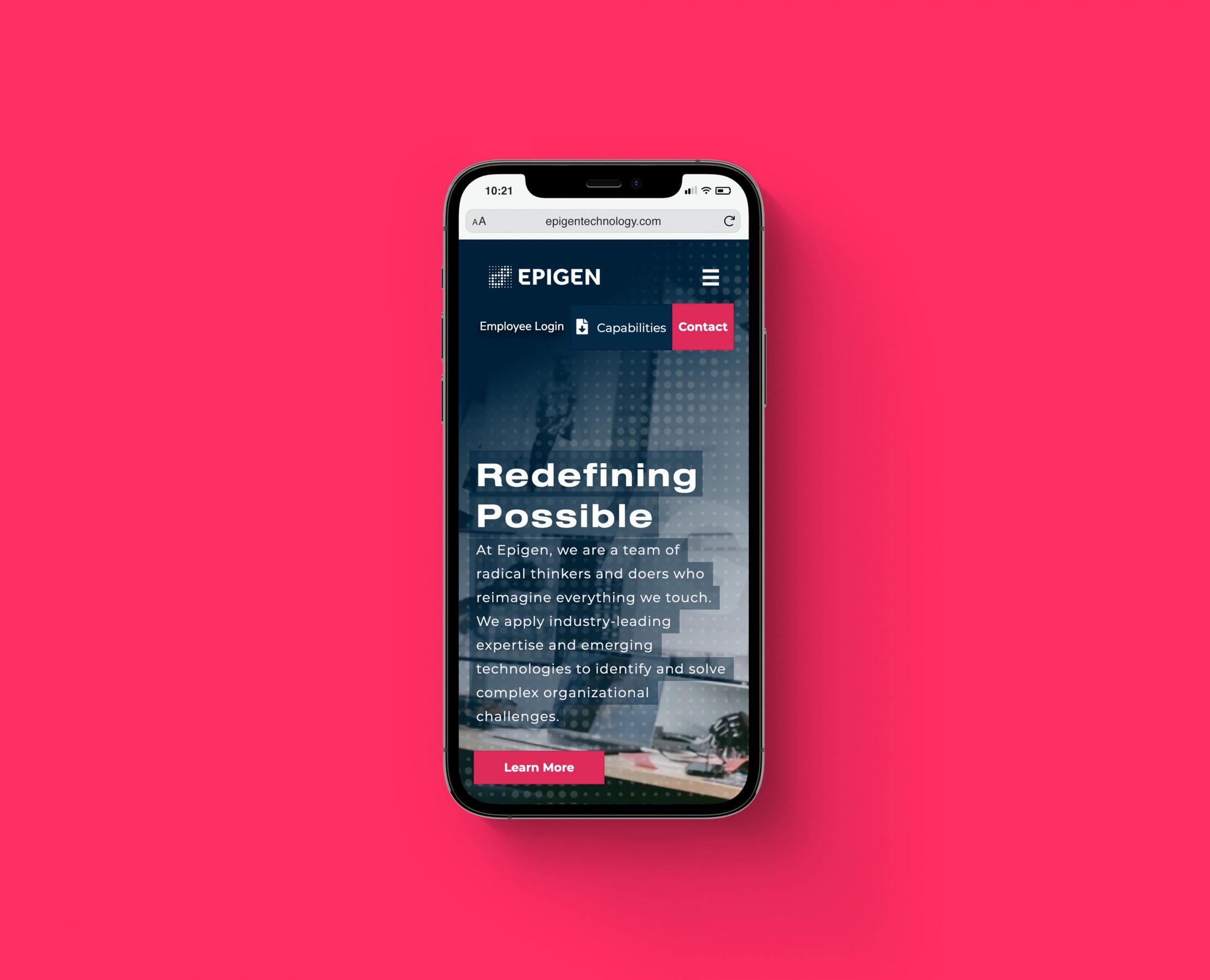 Epigen website mobile